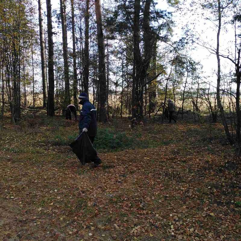 Сотрудники комиссариата Борисовского и Крупского районов приняли участие в акции «Чистый лес»